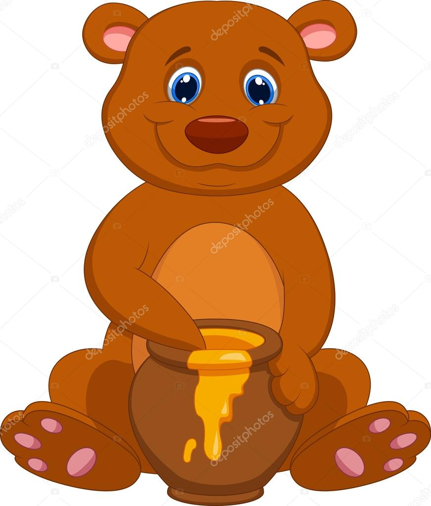 Cute bear eating honey — Stock Vector © tigatelu #27385379.