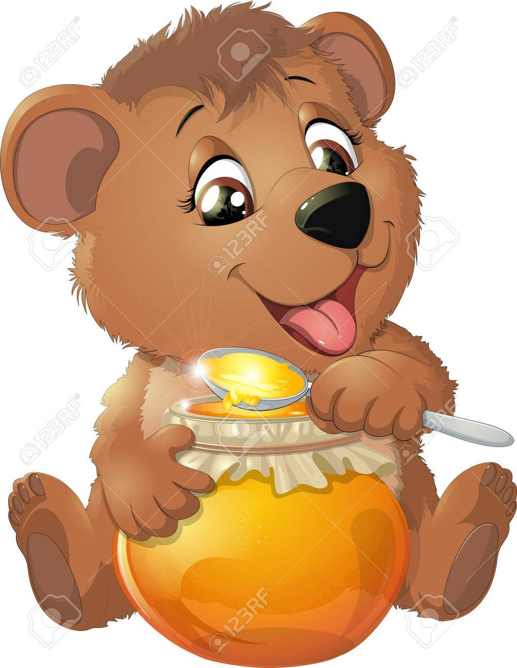Bear eat honey on a white background.