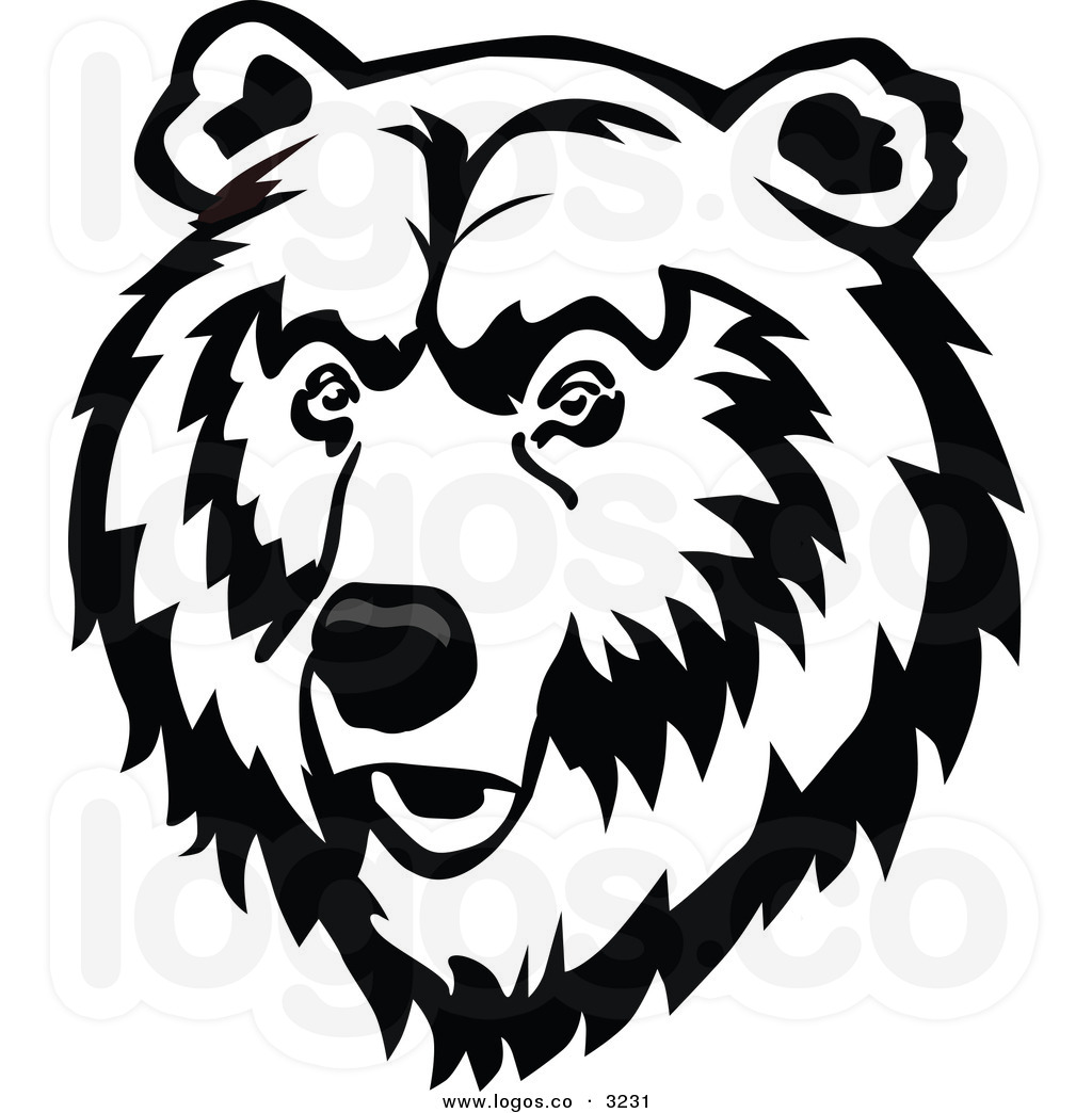Bear Face Clipart Black And White.