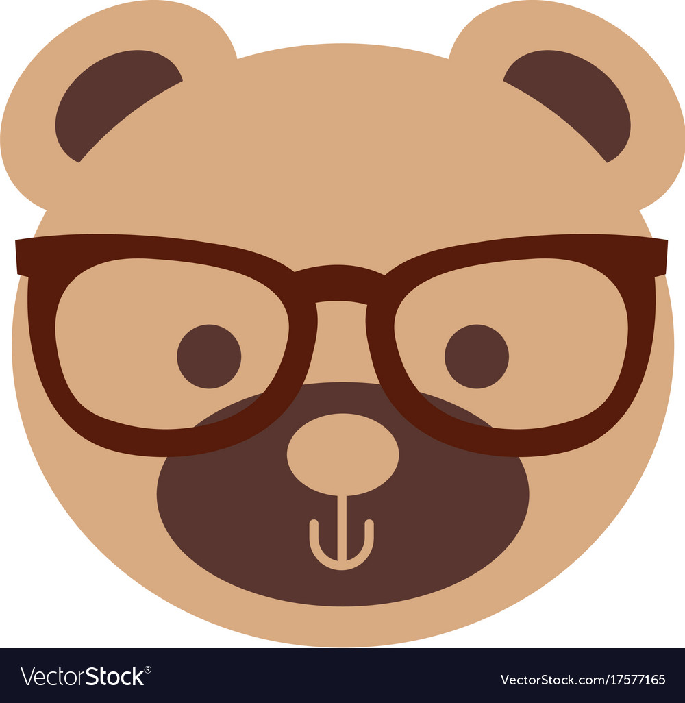 Cute bear with sunglasses teddy face toy gift.