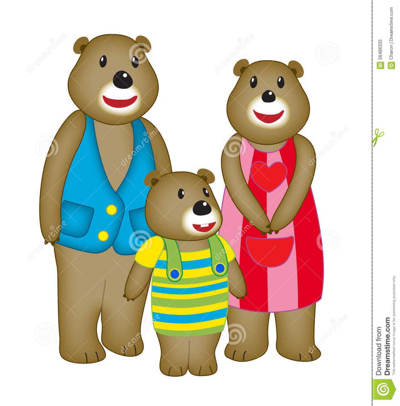 Cartoon Bear Family Cute Bears Stock Vector.
