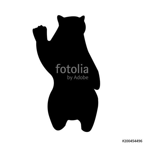 black bear silhouette clip art on white background, in black.