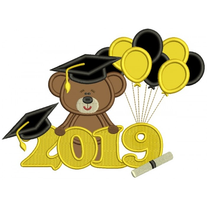 2019 Graduation Bear With Balloons Applique Machine Embroidery Design  Digitized Pattern.