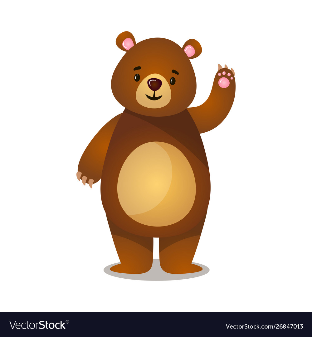 Pleasant cartoon brown grizzly teddy bear greeting.