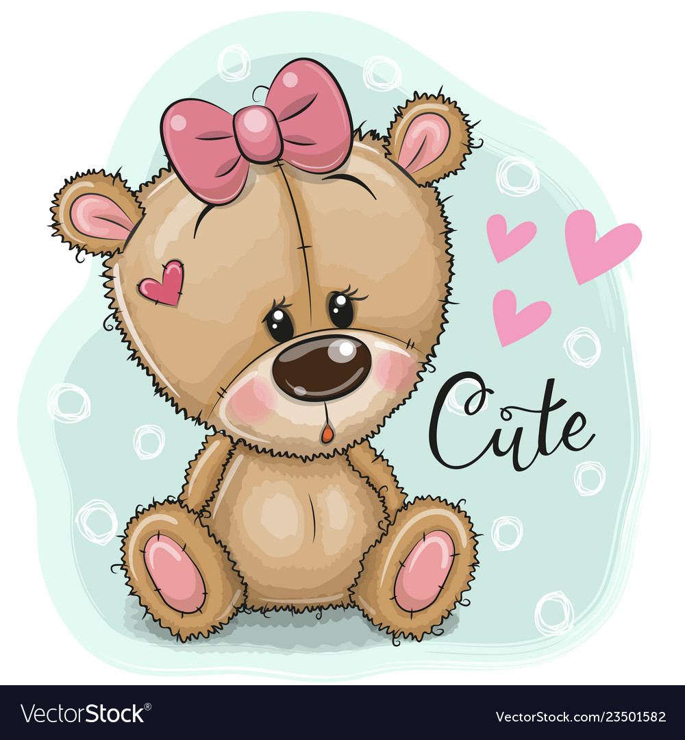 Greeting card teddy bear girl on a blue background.