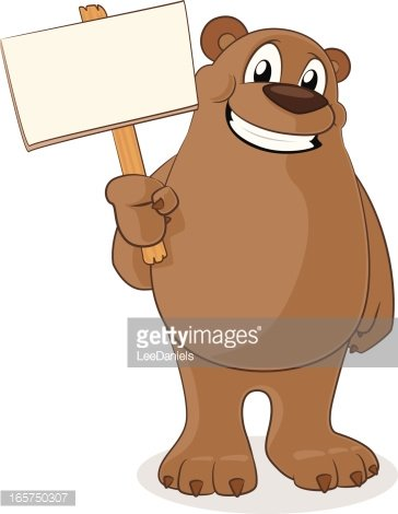 Bear holding a blank sign Clipart Image.