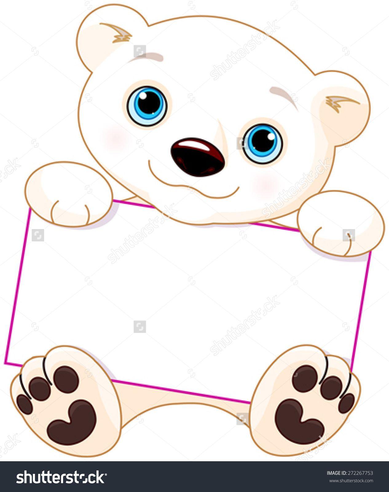 Cute Polar bear holds a sign.
