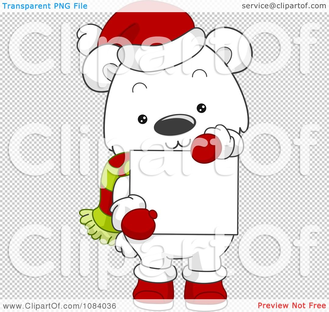Clipart Christmas Polar Bear Holding A Sign.