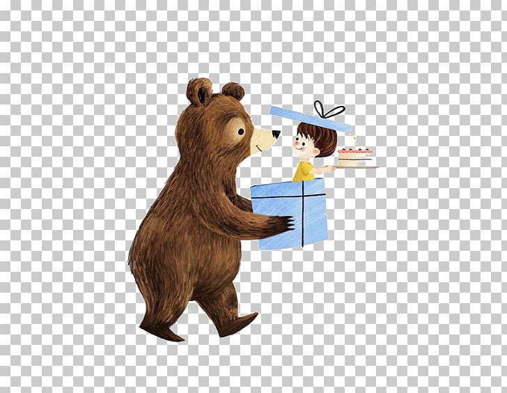 Illustrator Illustration, Bear holding gift box PNG clipart.