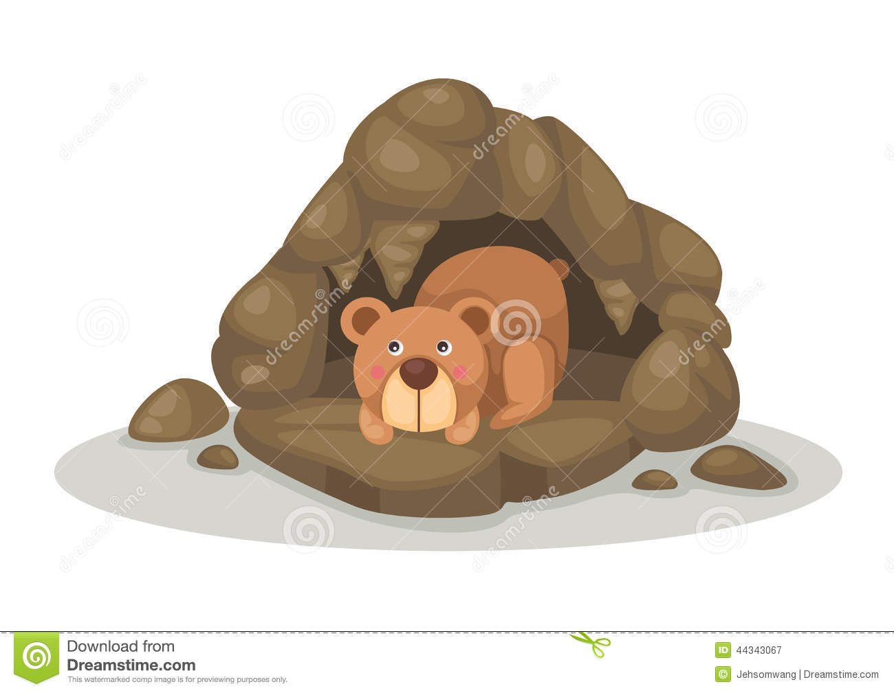 Bear In Cave Clipart.