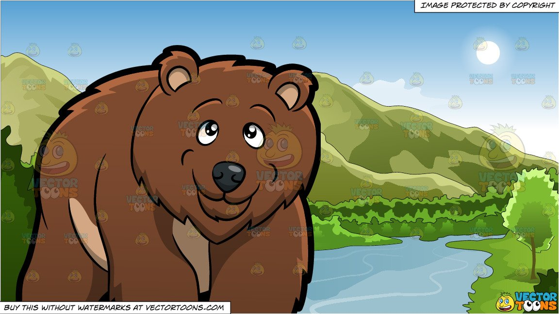 A Grizzly Bear and Mountains And River Background.