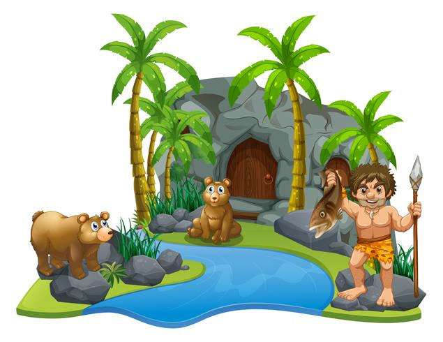 Caveman and two bears by the river.