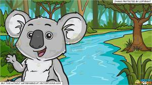 A happy cute koala bear and A River In A Jungle Background.