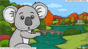 A surprised koala bear and A River During Autumn Background.