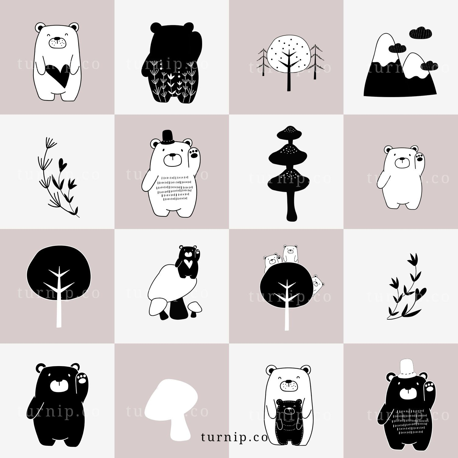 101 Bear Cartoon Image Clipart, Black and White Bear Clipart.