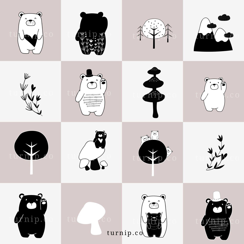 101 Bear Cartoon Image Clipart, Black and White Bear Clipart.