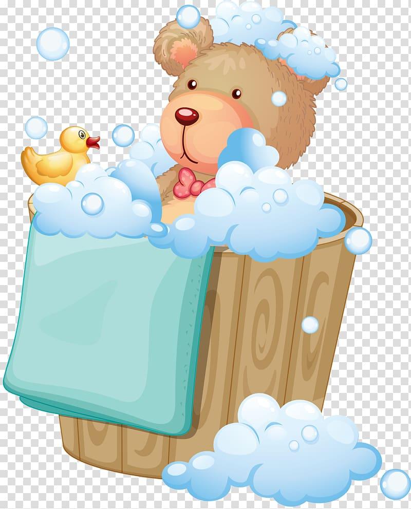 Hot tub Bathroom Bathtub Illustration, Bear cartoon bath.