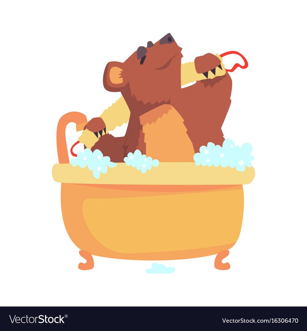 Cute cartoon bear taking a bath washing its body.