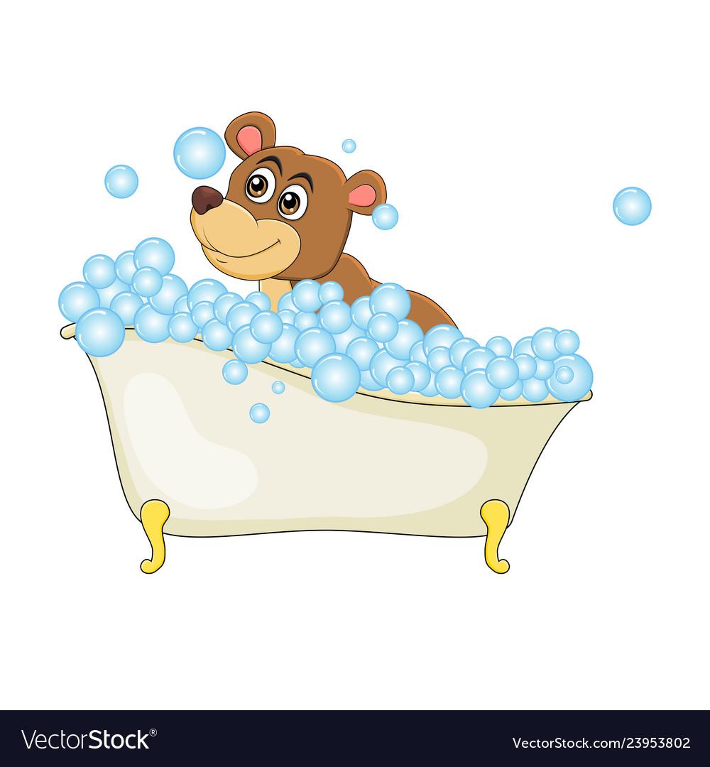 Cartoon bear in bathtub witth bubbles isolated on.