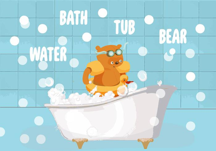 Bath Tub Bear Vector Illustration.