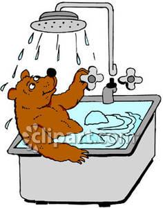Cartoon Bear Taking a Bath.