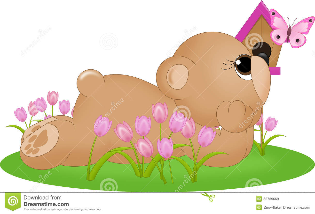 Bear In Grass With Butterfly Stock Illustration.