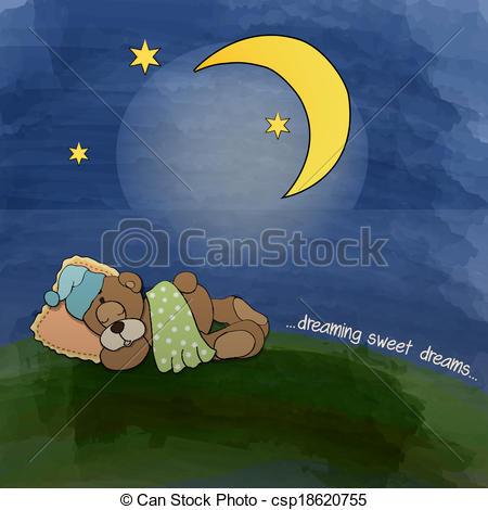 Clipart Vector of baby teddy bear sleeping on grass, vector.