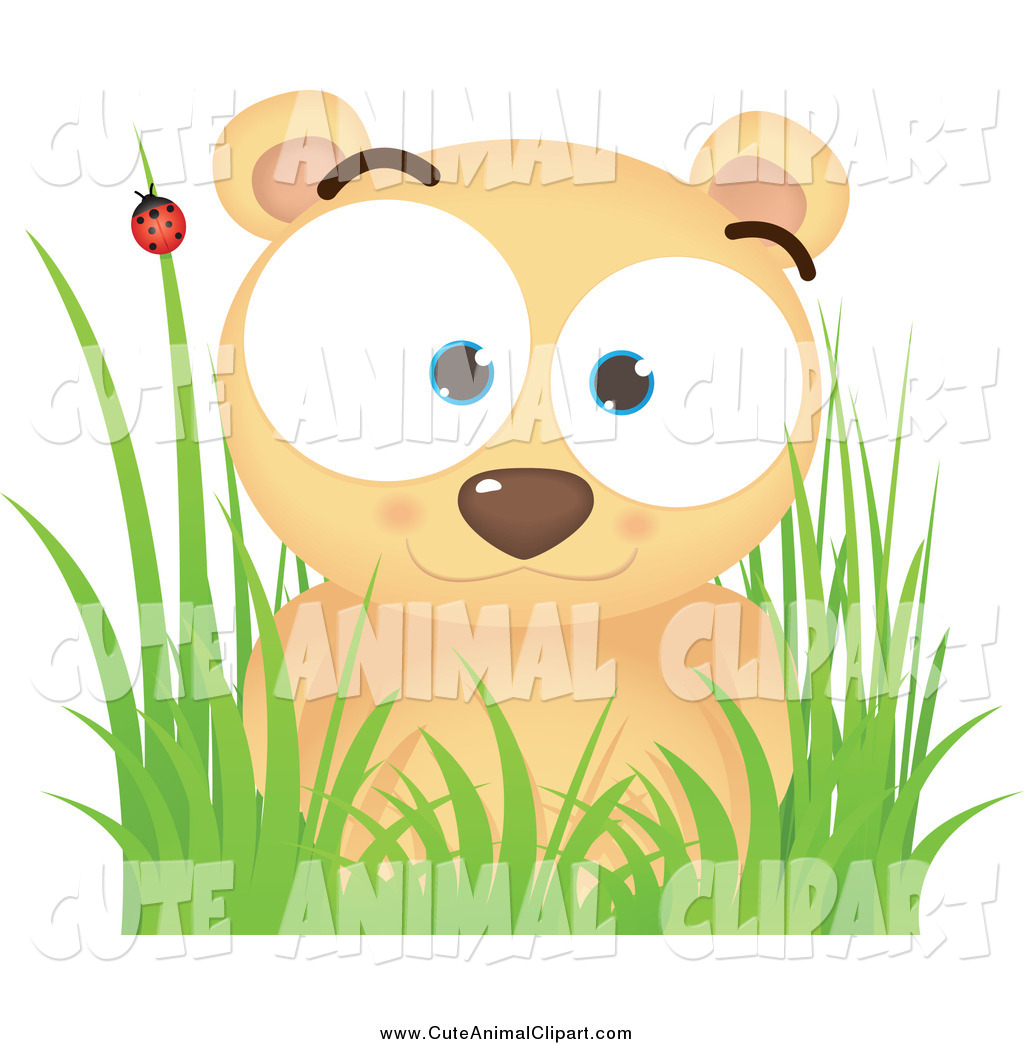 Vector Cartoon Clip Art of a Cute Bear in Grass by Qiun.