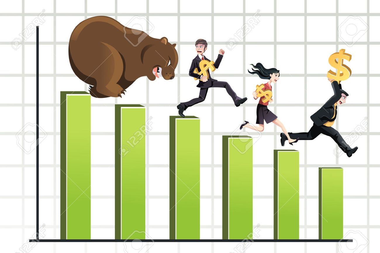 A Vector Illustration Of A Bear Chasing Business People Down.