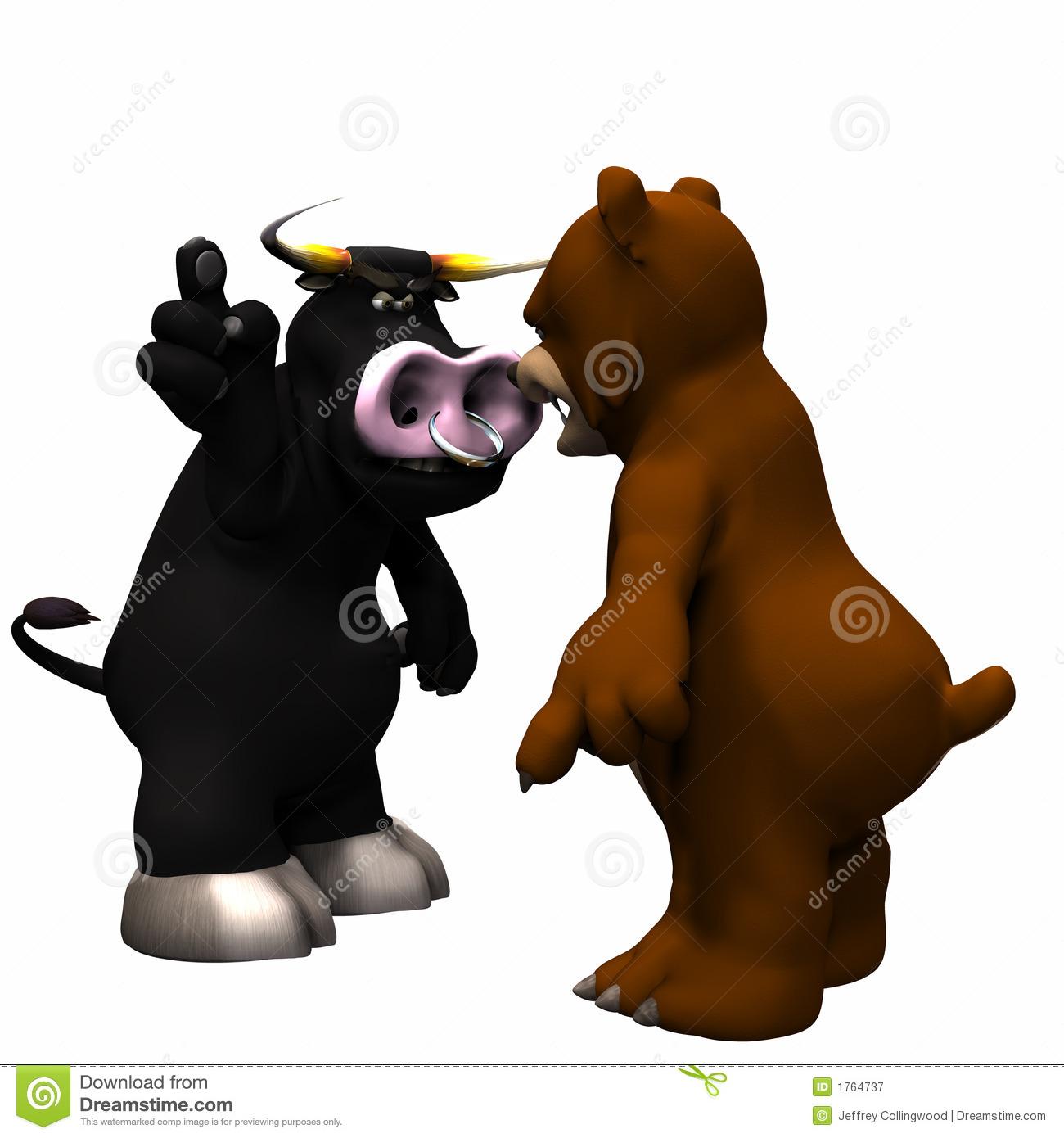 Bull Vs Bear Market Royalty Free Stock Photography.
