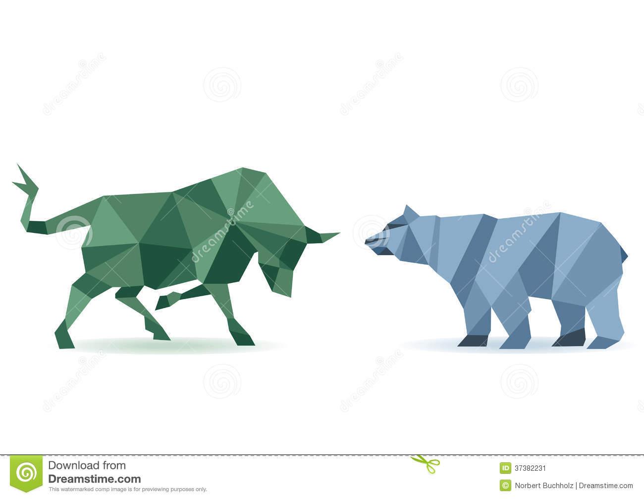 Bull, Bear, Market Trend Royalty Free Stock Photos.