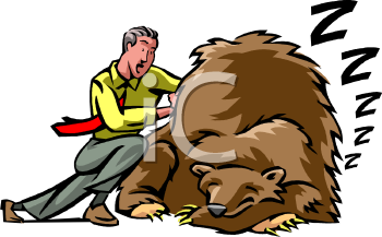 Royalty Free Clipart Image: Fighting the Bear Market on Wall Street.