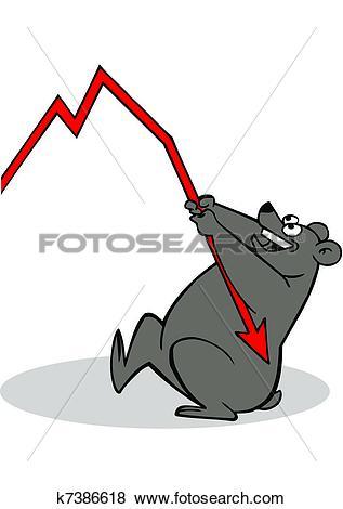 Stock Illustration of bear in share market k7386618.