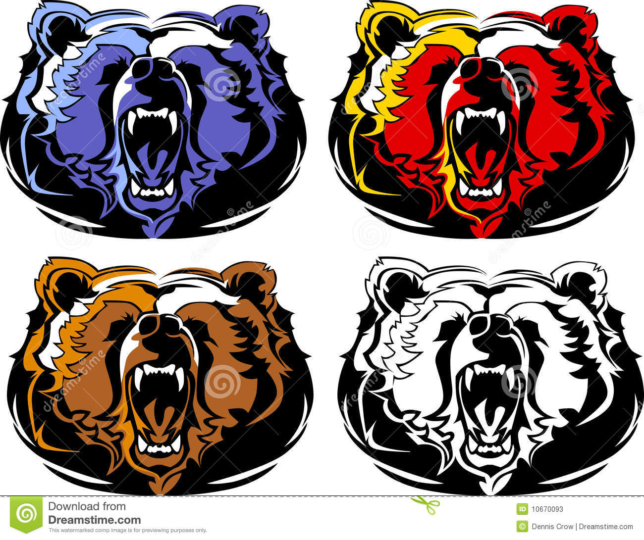 Bear Mascot Vector Logo stock vector. Illustration of teeth.