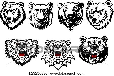 Bear mascots with different expressions Clipart.