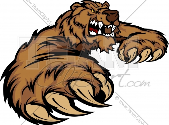 Grizzly Bear Mascot Body with Paws and Claws.