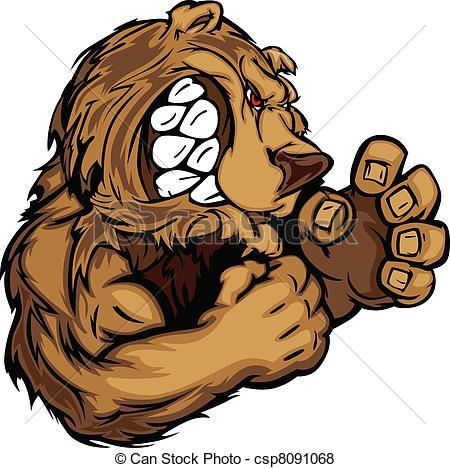 Bear Mascot with Fighting Hands Gra.