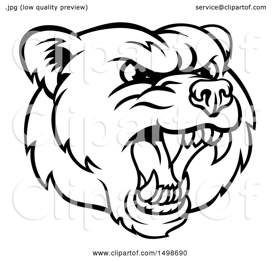 Clipart of a Mad Grizzly Bear Mascot Head, Black and White.