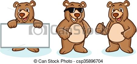 Grizzly Bear Mascot happy.
