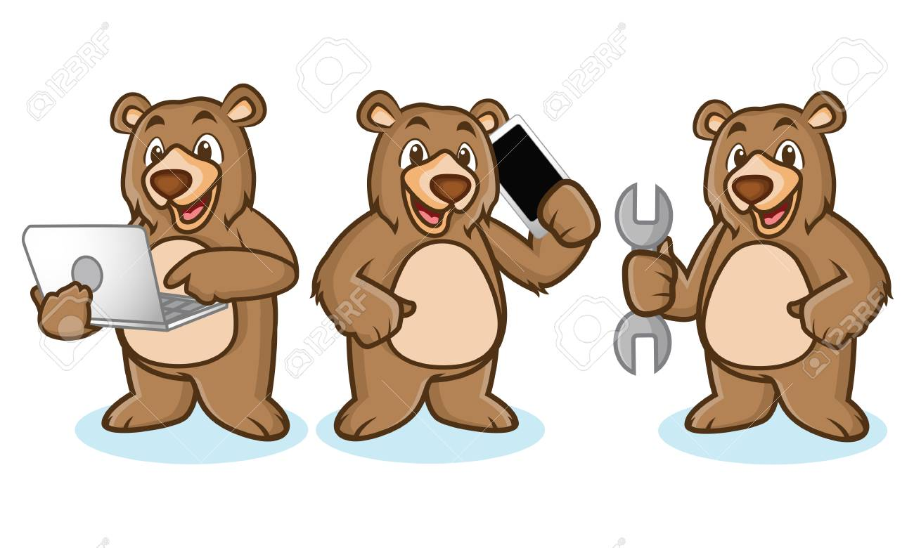 Grizzly Bear Mascot with laptop, phone and toools.