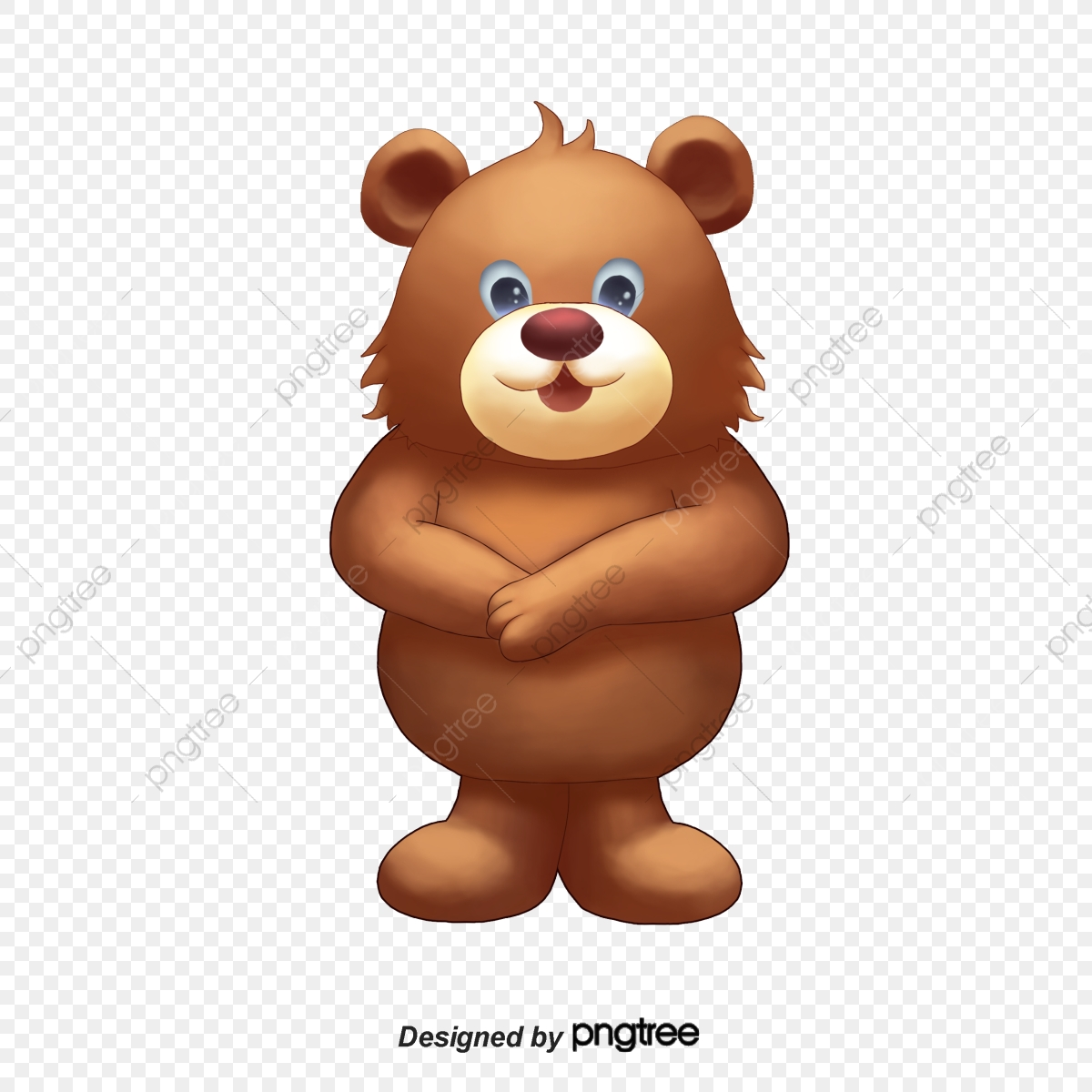 Brown Obese Little Bear With Big Nose And Thick Legs, Brown, Fat.