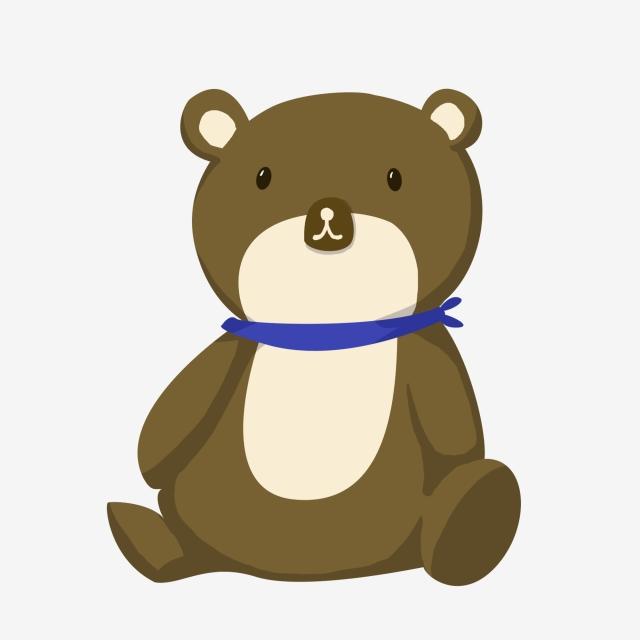 Blue Ribbon Brown Bear White Belly White Nose, Cartoon Illustration.