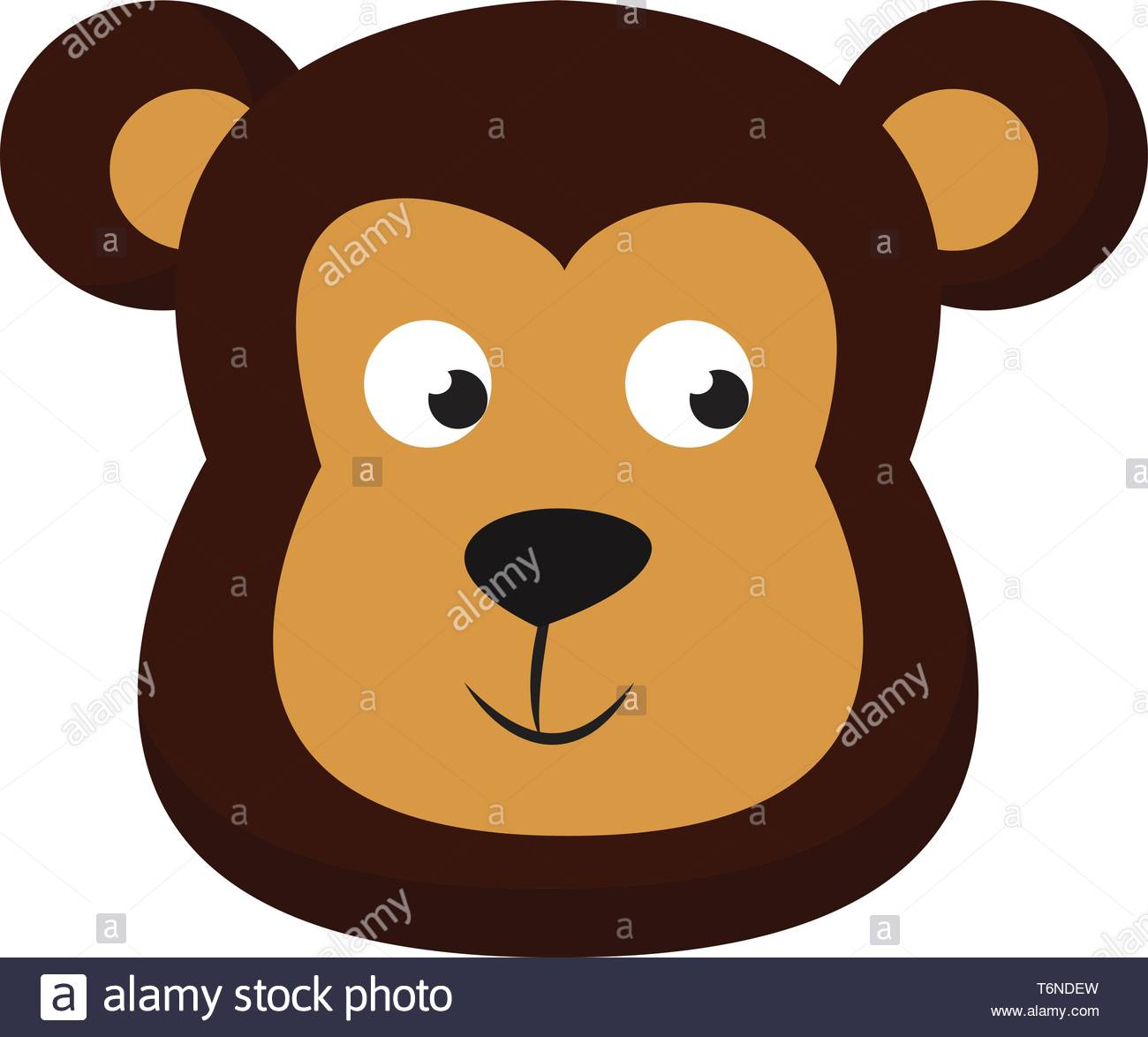 Clipart of the face of a cute little bear in shades of brown with.