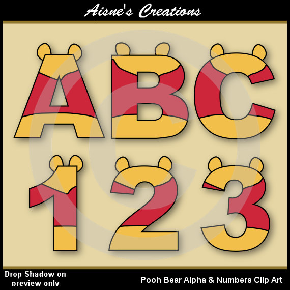 The Pooh Alphabet Letters & Numbers Clip Art Graphics.