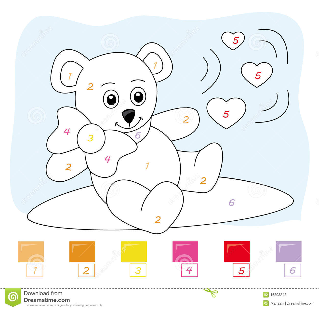 Color By Number Game: Teddy Bear Royalty Free Stock Photos.