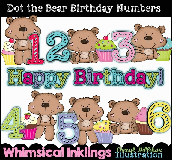 Dot the Bear Birthday Numbers Clip Art Download [RS97790].