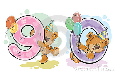 Set Clip Art Illustrations Of Teddy Bear Gets And Sends Letters.