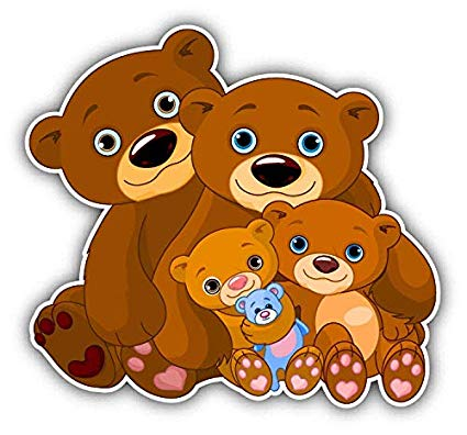 Amazon.com: Bear Family Cute Cartoon Window Truck Car Bumper.