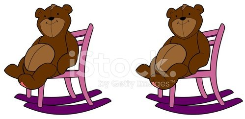 Bear in a rocking chair Clipart Image.