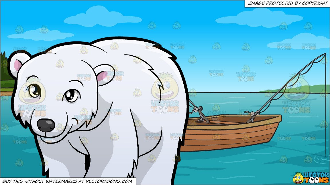 A Friendly Looking Polar Bear and Fishing Boat On The Lake Background.